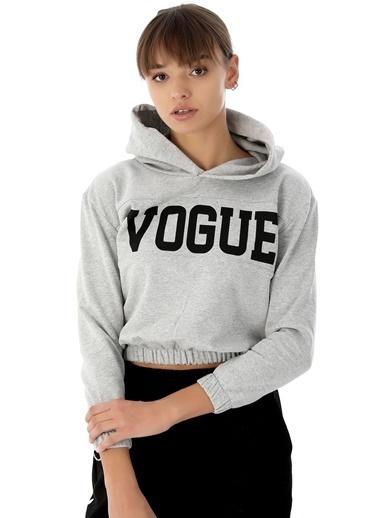 Emjey Vogue Baskılı Sweat Gri